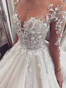 Luxurious Ball Gown Long Sleeves V Neck Open Back Lace Wedding Dresses, Vintage Wedding Gowns WD19110502