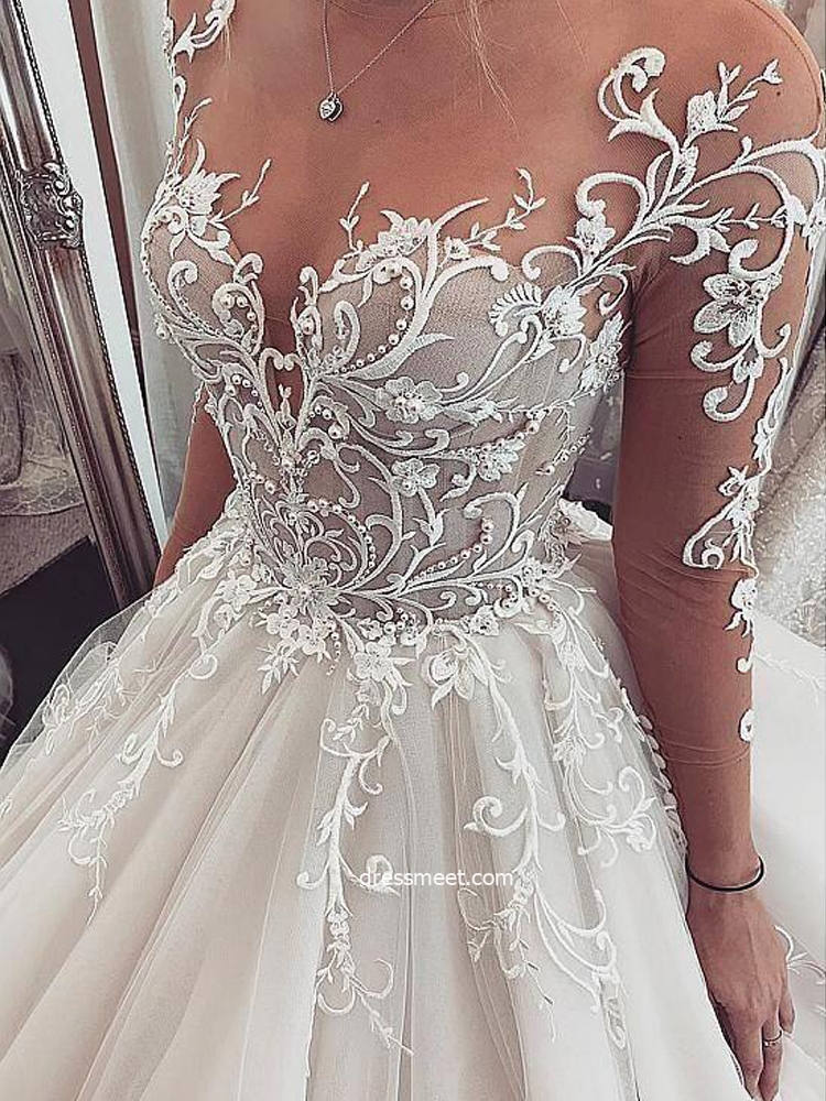 Luxurious Ball Gown Long Sleeves V Neck Open Back Lace Wedding Dresses Vintage Wedding Gowns Wd19110502 Dressmeet Com