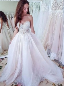 Simple Ball Gown Sweetheart Open Back Ball Gown Dresses, Prom Dresses