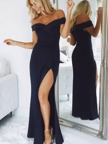 Simple Sheath Off the Shoulder Black Satin Long Prom Dress Under 100, Elegant Occasion Dresses