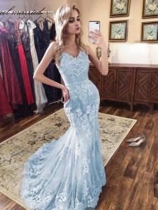 Gorgeous Mermaid V Neck Spaghetti Straps Light Blue Lace Prom Dresses PD19110901