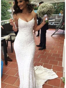 Sparkly Elegant Mermaid Sweetheart Spaghetti Straps Long Prom Dresses,Wedding Dresses PD19110801