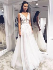 Fairy A Line V Neck Open Back Lace Wedding Dresses, Simple Wedding Dresses WD19110903