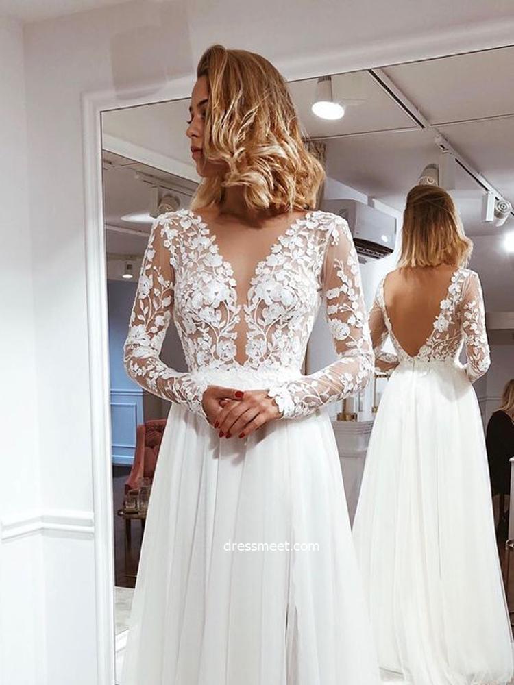 Simple A Line V Neck Open Back Ivory Lace Long Sleeves Wedding Dresses Wd19110902 Dressmeet Com