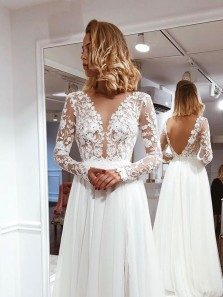 Simple A Line V Neck Open Back Ivory Lace Long Sleeves Wedding Dresses WD19110902