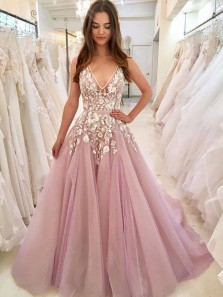 Gorgeous Ball Gown V Neck Pink Tulle Lace Wedding Dresses, Gown Dresses