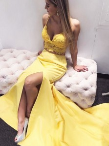 Elegant Two Piece Mermaid V Neck Spaghetti Straps Yellow Lace Prom Dresses, Slit Evening Party Dresses