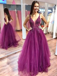 Sparkly Ball Gown V Neck Fuchsia Tulle & Lace Long Prom Dresses with Beaded, Elegant Evening Dresses PD19111601