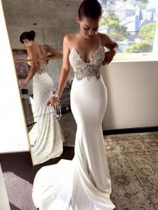 Boho Mermaid V Neck Spaghetti Straps Soft Satin Lace Wedding Dresses, Beach Wedding Dresses