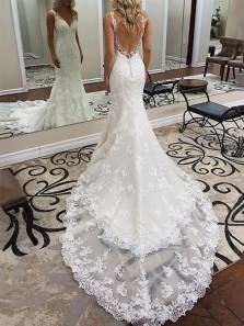 Elegant Mermaid V Neck Open Back Lace Wedding Dresses with Court Train