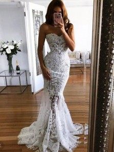 Fashion Lace Mermaid Open Back Beaded Long Wedding Dresses with Appliques