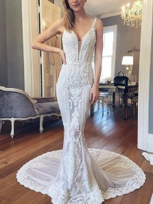Luxurious Mermaid V Neck Open Back Lace Wedding Dresses with Train, Gorgeous Wedding Dresses WD19112001