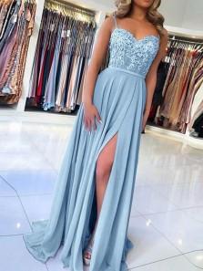 Elegant Sweetheart Spagehetti Straps Blue Lace Slit Prom Dresses, Beaded Prom Dresses PD19112002