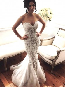 Fashion & Vintage Luxurious Lace Sweetheart Mermaid Wedding Dresses with Beaded