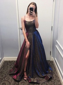 Fashion Sparkly Ball Gown Scoop Spaghetti Straps Slit Prom Dresses, Unique Party Dresses with Pockets PD19112003