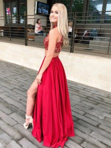 Cute A Line Two Piece Halter Red Satin Slit Prom Dresses with Pockets, Beaded Prom Dresses