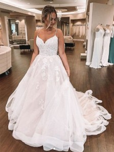 Gorgeous Ball Gown Sweetheart Spaghetti Straps Tulle Wedding Dresses, Lace Wedding Gown