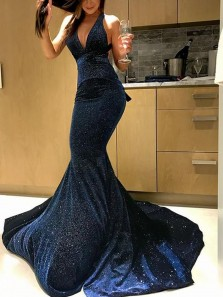 Charming Mermaid V Neck Velvet Dark Navy Long Prom Dresses, Sparkly Elegant Pageant Dresses
