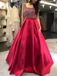 Gorgeous Ball Gown Scoop Neck Cap Sleeves Red Satin Prom Dresses with Beaded, Formal Gown Dresses