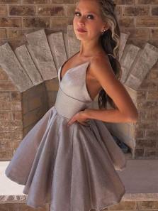 Cute A Line V Neck Spaghetti Straps Grey Short Homecoming Dresses, Sparkly Prom Dresses Under 100