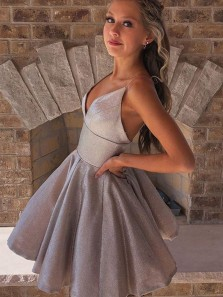 Cute A Line V Neck Spaghetti Straps Grey Short Homecoming Dresses, Sparkly Prom Dresses Under 100