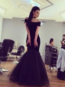 Elegant Mermaid Off the Shoulder Black Long Prom Dresses, Formal Evening Dresses