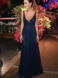 Charming A Line V Neck Open Back Navy Sequins Long Prom Dresses with Beaded, Elegant Evening Dresses PD19112903