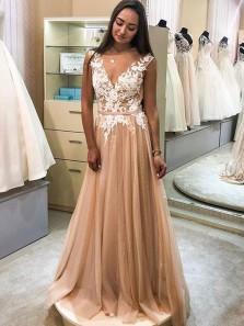 Elegant A Line V Neck Champagne Lace Prom Dresses, Evening Party Dresses