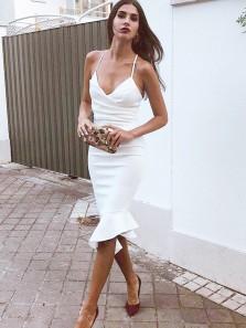 Sheath V Neck Spaghett Straps Cross Back White Elastic Satin Tea Length Party Dresses PD19120101, Elegant Short Prom Dresses Under 100