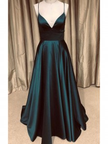 Fashion A Line V Neck Spaghetti Straps Open Back Dark Green with Pockets, Sparkly Quinceanera Dresses