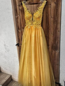 Gorgeous A Line V Neck Open Back Sparkly Yellow Prom Dresses with Appliques, Beaded Prom Dresses