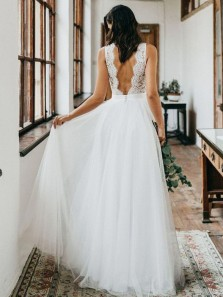 Simple A Line V Neck Open Back Tulle & Lace Wedding Dresses, Beach Wedding Dresses