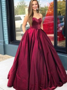 Ball Gown Sweetheart Dark Red Satin Long Prom Dresses with Pockets, Gown Dresses