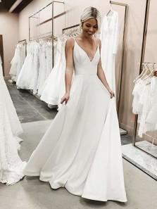 Elegant V Neck Spaghetti Straps Soft Satin Long Wedding Dresses, Simple Wedding Dresses