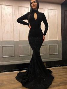Mermaid Halter Key Hole Long Sleeves Black Sequins Long Prom Dresses, Evening Dresses