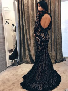 Mermaid Round Neck Open Back Long Sleeves Black Lace Prom Dresses, Elegant Evening Dresses