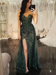 Unique Mermaid Sweetheart Dark Green Lace Split Prom Dresses, Two Piece Prom Dresses
