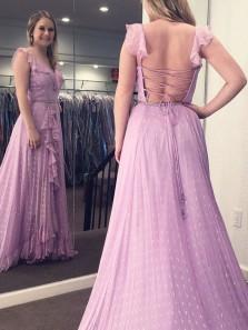 Fairy A Line V Neck Cross Back Light Purple Chiffon Long Prom Dresses, Beautiful Evening Party Dresses