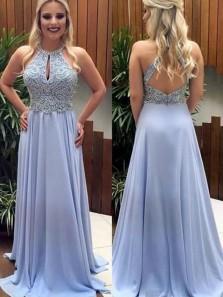 Elegant A Line Halter Keyhole Open Back Blush Chiffon Long Prom Dresses with Beading, Formal Evening Dresses