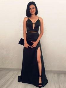 Simple A Line V Neck Spaghetti Straps Slit Black Prom Dresses Under 100, Two Piece Prom Dresses