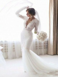 Elegant Mermaid V Neck Open Back Lace Long Sleeves Long Wedding Dresses with Train