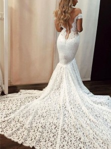 Elegant Mermaid Off the Shoulder Ivory Lace Wedding Dresses with Train WD19121401