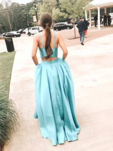 Simple Ball Gown V Neck Two Piece Lake Blue Satin Prom Dresses with Pockets, Fashion Prom Dresses