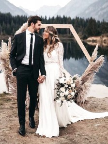 Boho A Line Round Neck Lace Sleeves Open Back Two Piece Wedding Dresses, Fairy Wedding Dresses WD19121601