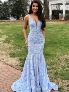Charming Mermaid V Neck Open Back Light Blue Lace Prom Dresses, Elegant Evening Party Dresses PD19121601
