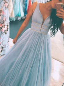 Gorgeous Ball Gown V Neck Tulle Blue Long Prom Dresses, Cute Prom Dresses with Beaded PD19121703