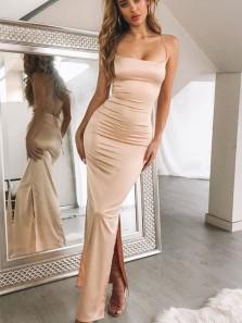 Charming Mermaid Spaghetti Straps Cross Back Blush Split Prom Dresses Under 100, Sexy Evening Party Dresses PD19121602