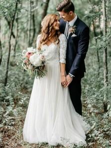 A Line V Neck Open Back Half Sleeves Long Wedding Dresses, Fairy Wedding Dresses WD19121701