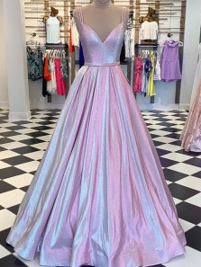 2020 Ball Gown V Neck Spaghetti Straps Sparkly Satin Long Prom Dresses, Beautiful Evening Dresses PD19121701
