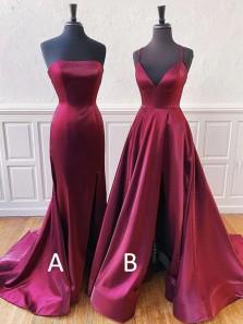 2020 Fashion V Neck Split Burgundy Prom Dresses, Sparkly Prom Dresses PD19121702